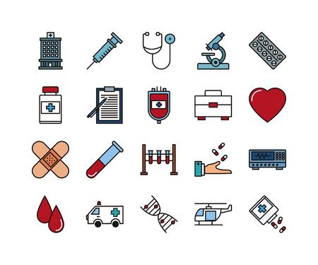 Thin lines icon set, medicine and health symbols, vector collection