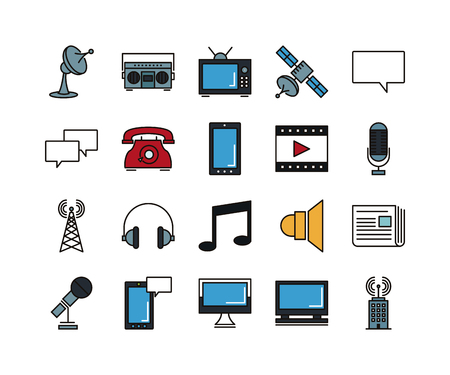 Set of line icons of communications, vector illustration Vettoriali