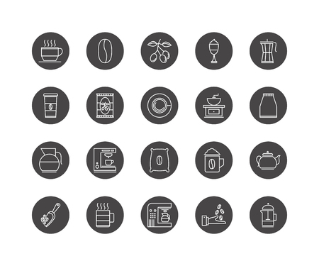 Set of 20 Coffe and tea beverage icon pack, drinks thin line vectors