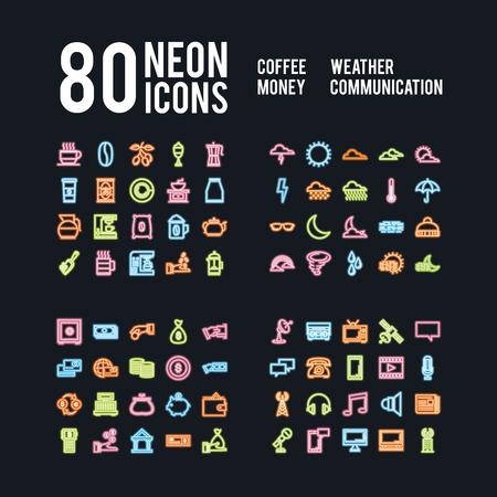 Różne neonowe ikony napojów pogodowych, biznesowych i komunikacyjnych, projekt wektor