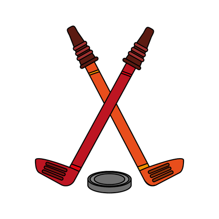 Hockey sticks with puck icon vector illustration graphic design. Illustration