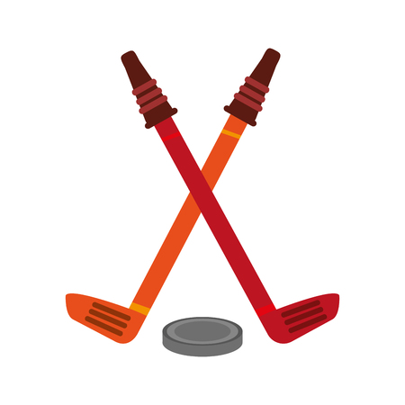 Hockey sticks with puck icon vector illustration graphic design