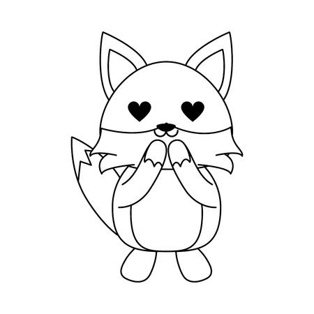 Cute fox in love cartoon icon vector illustration graphic design