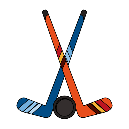 Hockey sticks and puck icon vector illustration graphic design.