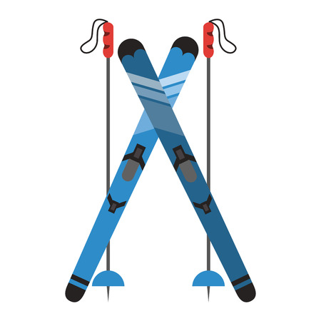 Snowboard with sticks icon vector illustration graphic design