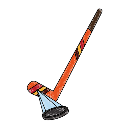 Hockey stick and puck icon vector illustration graphic design