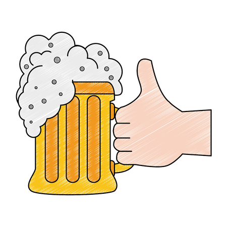 Hand with beer glass icon vector illustration graphic design