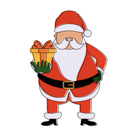 Santa claus with gift box icon vector illustration graphic design