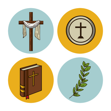 Holy week round icons icon vector illustration graphic design