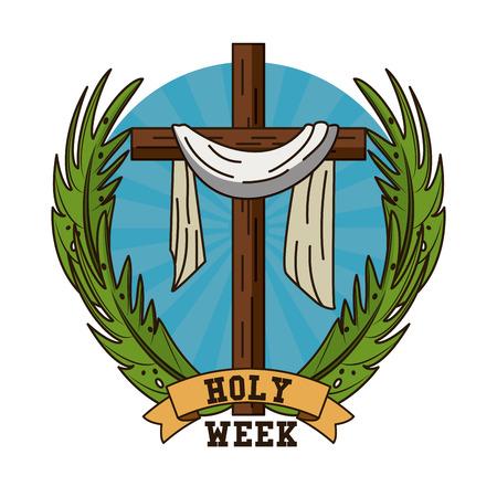 Heilige week katholiek traditie pictogram vector illustratie grafisch ontwerp