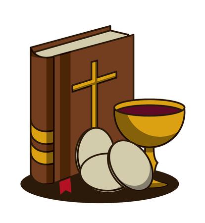 Wielki tydzień tradycji katolickiej ikona wektor ilustracja projekt graficzny