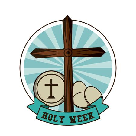 Holy week catholic tradition icon vector illustration graphic design