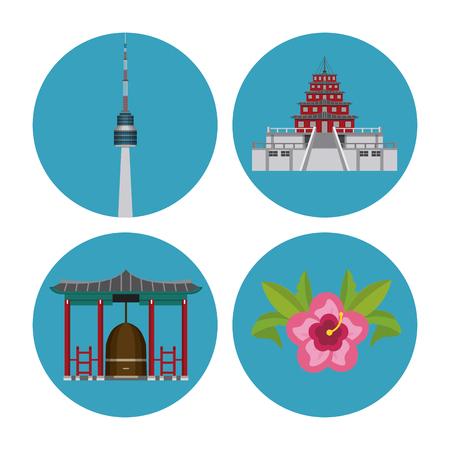South korea round icons icon vector illustration graphic design