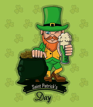 Saint patricks elf cartoon card icon vector illustration graphic design Illustration