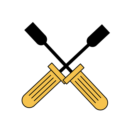 Construction tools crossed icon vector illustration graphic design