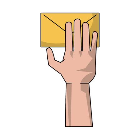 Hand with mail icon vector illustration graphic design
