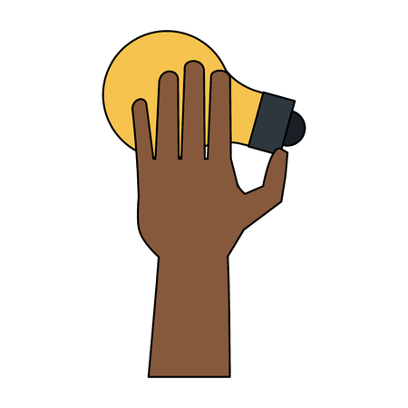 Hand with bulb icon vector illustration graphic design