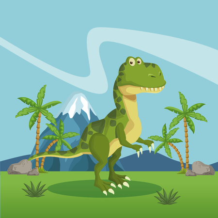 Dinosaur in the forest icon vector illustration graphic design