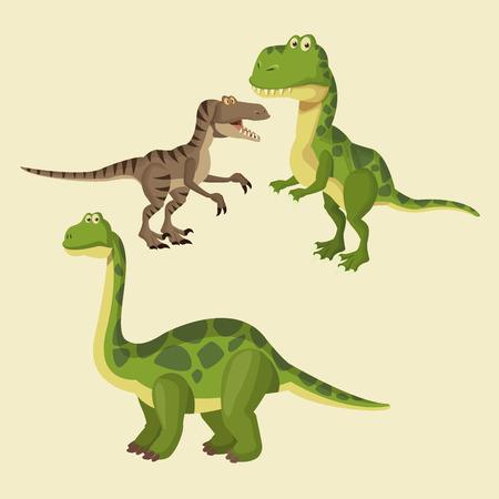 Dinosaurs elements cartoon icon vector illustration graphic design