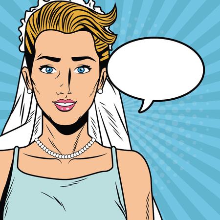 Beautiful bride pop art cartoon vector illustration graphic design vector illustration graphic design Weedingd people Illustration
