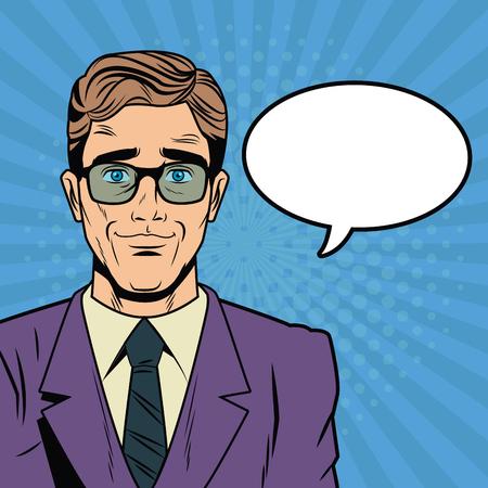 Businessman with bubble pop art cartoon vector illustration graphic design suit and elegance style vibrant colors.