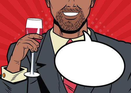 Businessman with bubble pop art cartoon vector illustration graphic design suit and elegance style vibrant colors