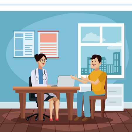 Patient at doctors office cartoon icon vector illustration, graphic design for health and healthcare.