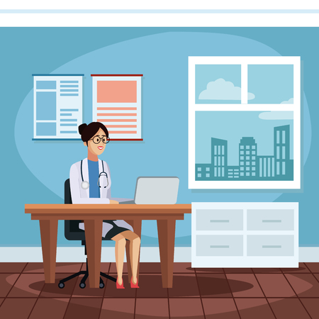 Woman doctor in the office icon vector illustration graphic design Health and healthcare