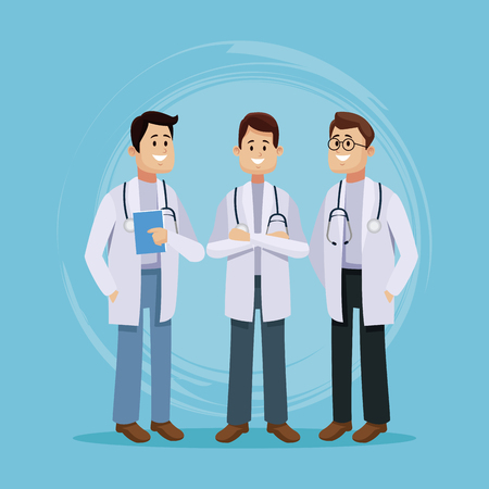 Medical team cartoon icon vector illustration, graphic design for health and healthcare.