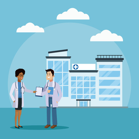 Doctor and patient at hospital icon vector illustration graphic design Health and healthcare