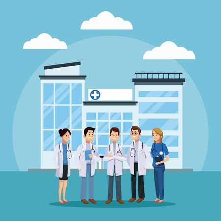 Medical team at hospital icon vector illustration, graphic design for health and healthcare. Illustration