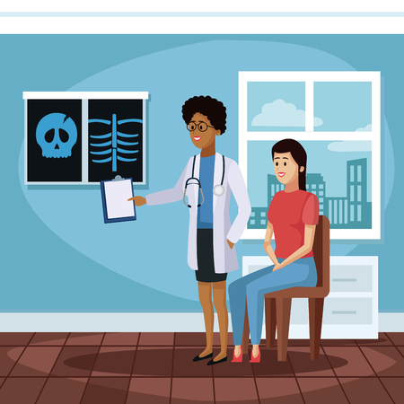 Patient at doctors office cartoon icon vector illustration graphic design Health and healthcare