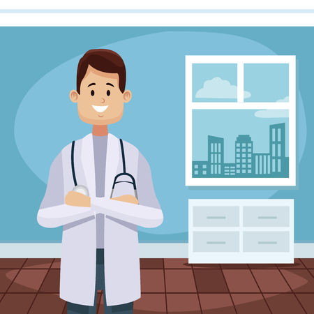 Doctors office cartoon icon vector illustration, graphic design for health and healthcare.