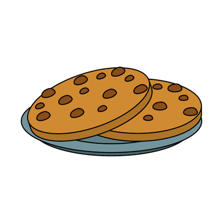 Cookies with chocolate chips on dish icon vector illustration graphic design