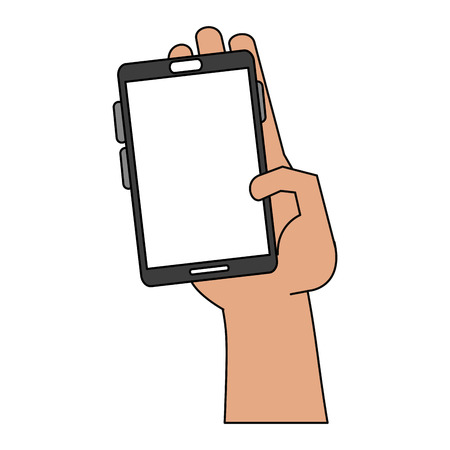 Hand with smartphone icon vector illustration graphic design