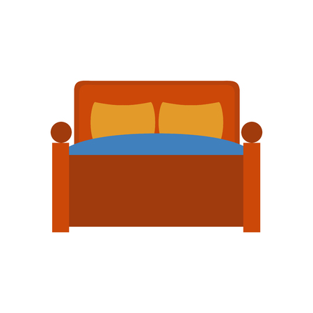 Bed with pillows icon vector illustration graphic design