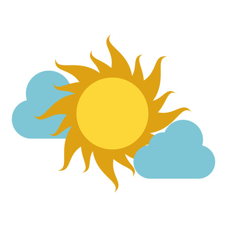 Sun and clouds weather icon vector illustration graphic design Illustration