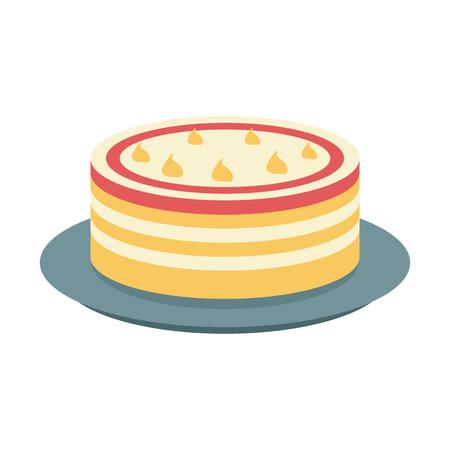 Cake dessert on dish icon vector illustration graphic design Illustration