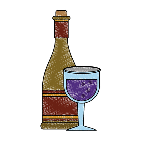 Wine bottle with cup icon vector illustration graphic design