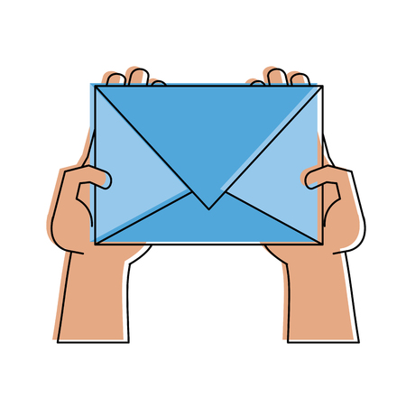 Hand with envelope mail icon vector illustration graphic design Illustration