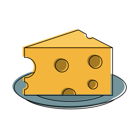 Cheese on dish icon vector illustration graphic design