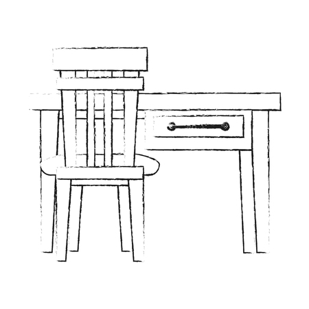 Desk with chair icon vector illustration graphic design 일러스트