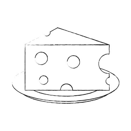 Fromage sur plat icône vector illustration graphisme