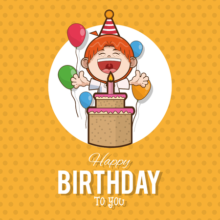 Kid happy birthday card cartoon icon vector illustration graphic design