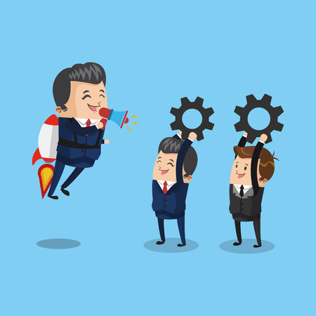 Businessman flying jetpack leading teamwork icon vector illustration graphic design Stock Vector - 96003677
