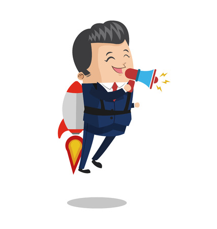 Businessman flying jetpack with bullhorn icon vector illustration graphic design