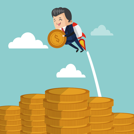 Businessman flying jetpack with coin icon vector illustration graphic design