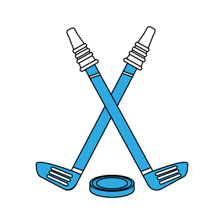 Hockey sticks and puck icon vector illustration graphic design Illustration