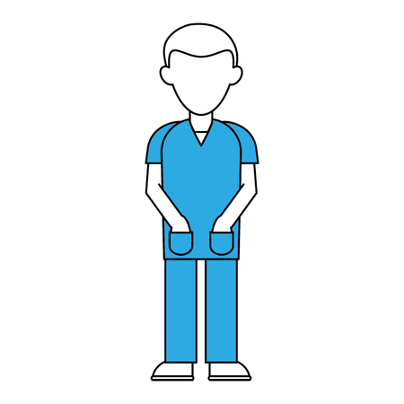 Doctor with gown faceless avatar icon vector illustration graphic design