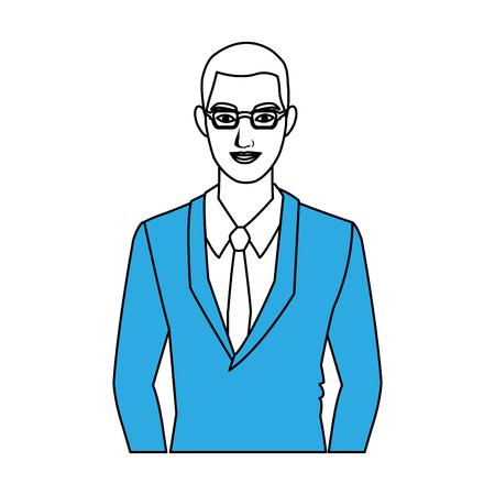 Businessman with gkasses  profile icon vector illustration graphic design